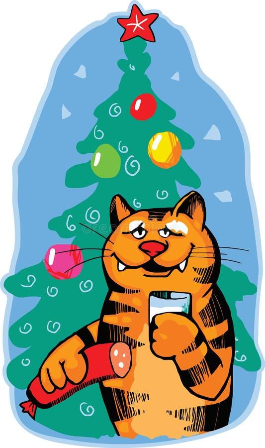 katten firar nytt orange år stock illustrationer
