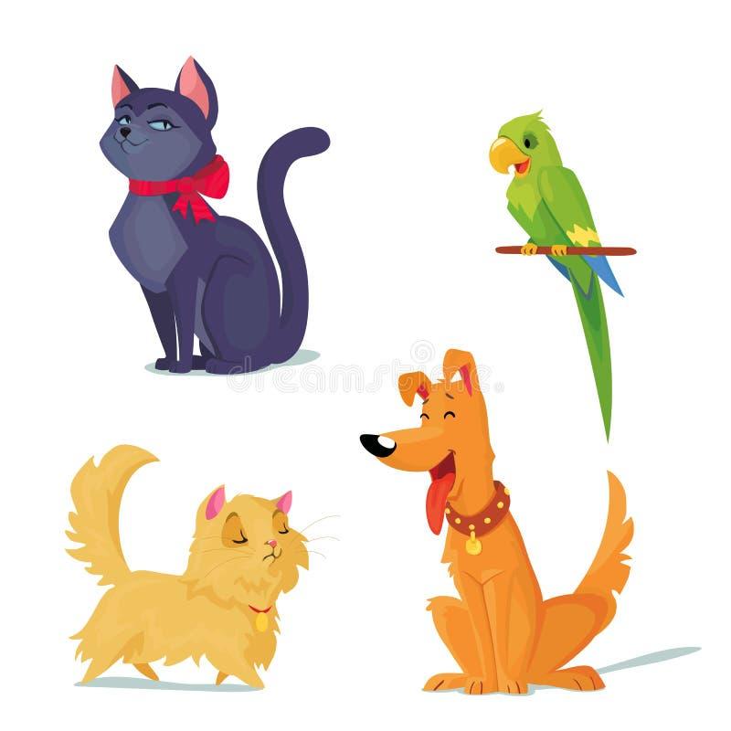 Katten, hond en papegaai vectorillustratie vector illustratie