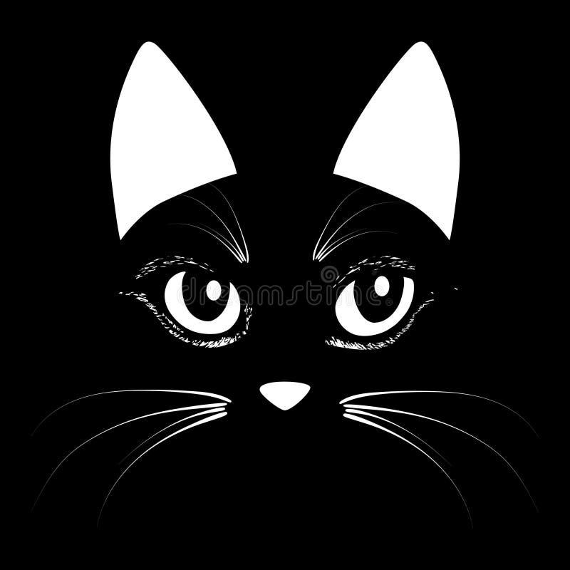 Katten hoofd dierlijke illustratie voor t-shirt Het ontwerp van de schetstatoegering royalty-vrije illustratie