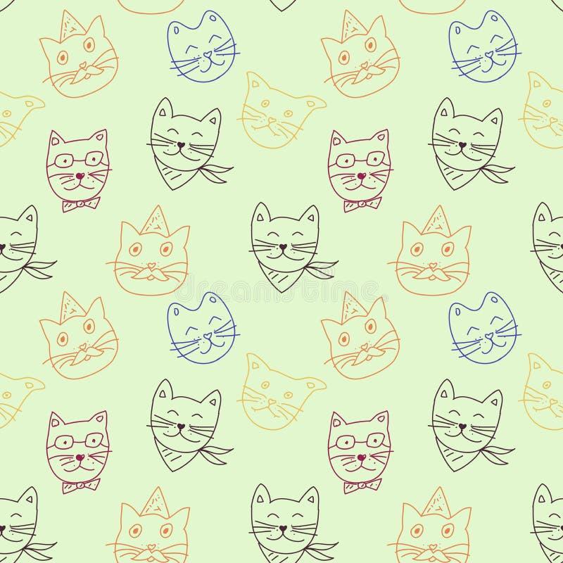 Katten kleurrijk patroon op lichte achtergrond vector illustratie