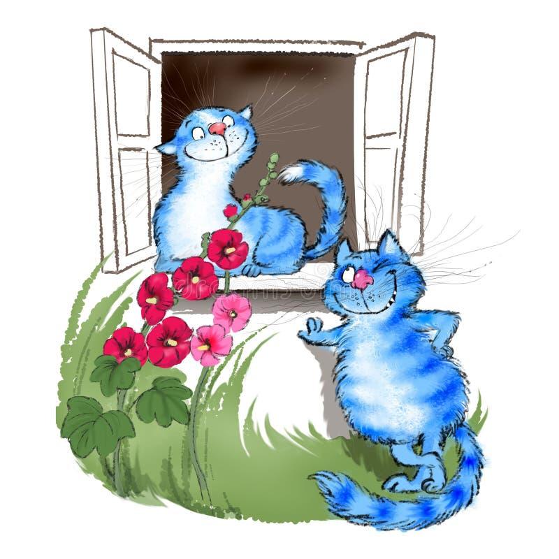 Katten in liefde onder het venster stock illustratie