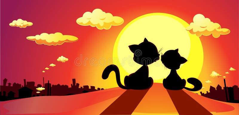 katten in liefdesilhouet in zonsondergang - vector stock illustratie