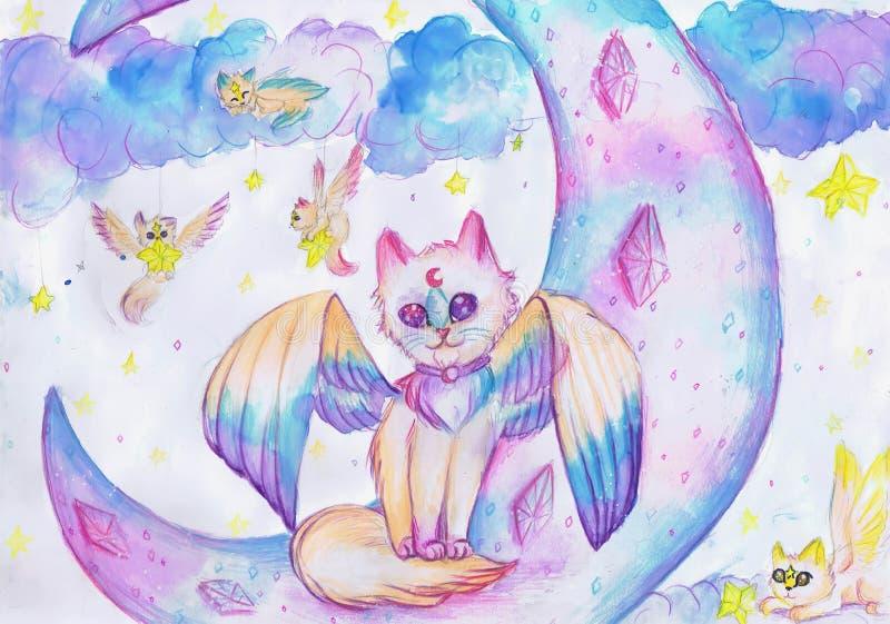 Katten med vingar sitter på månen Teckning för barn` s vektor illustrationer