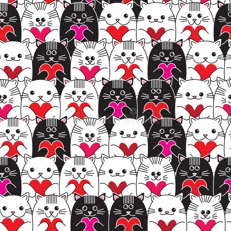 Katten met harten in handen naadloos vectorpatroon vector illustratie