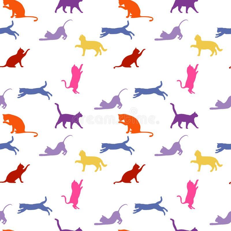 katten naadloze babyachtergrond met kleurenkatten royalty-vrije stock foto's