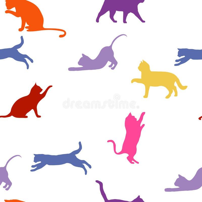 katten naadloze babyachtergrond met kleurenkatten royalty-vrije stock fotografie