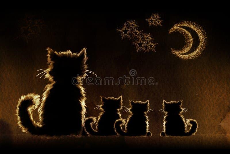 Katten in nacht vector illustratie