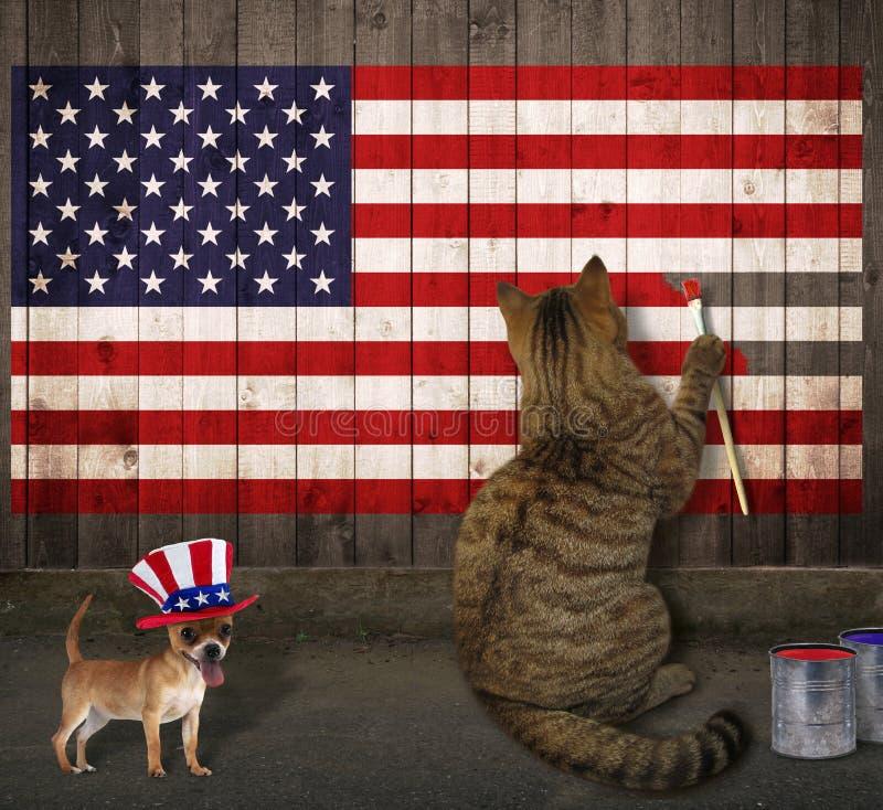 Katten och hunden drar amerikanska flaggan arkivfoton