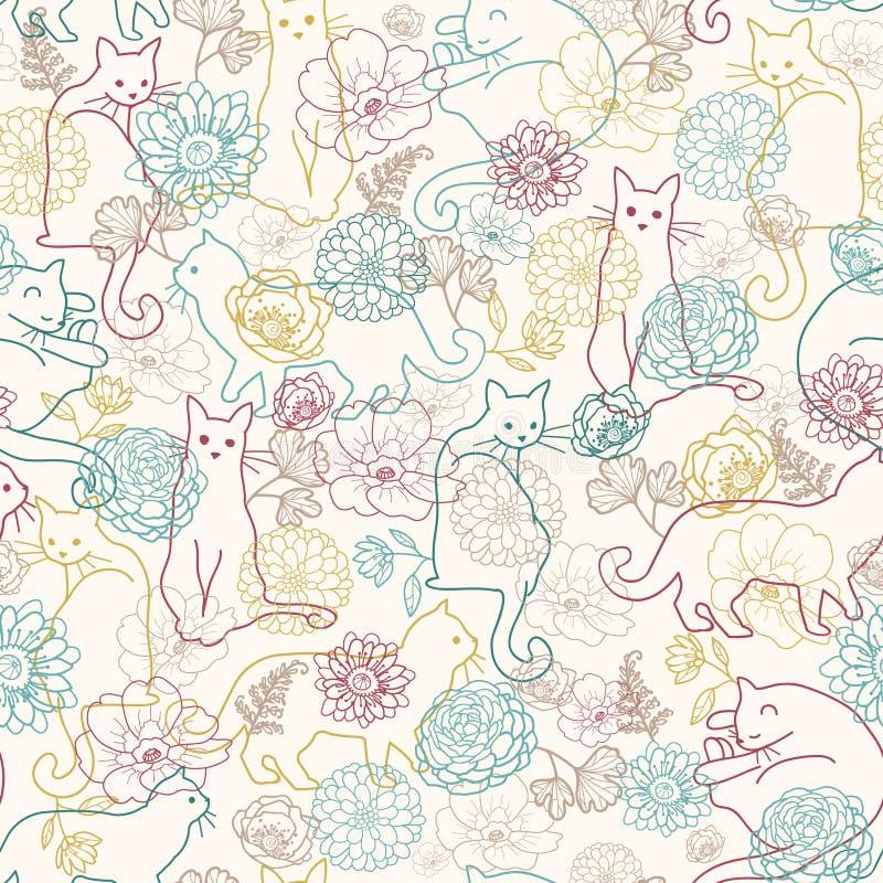 Katten onder achtergrond van het bloemen de naadloze patroon stock illustratie