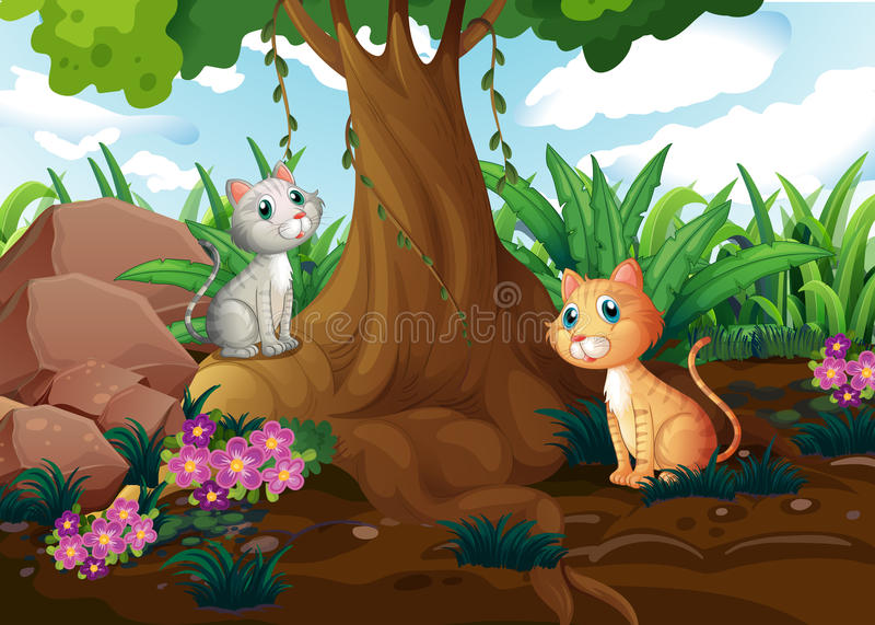 Katten onder de boom vector illustratie