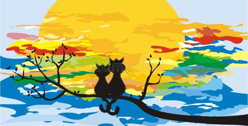 Katten op een boom stock afbeelding