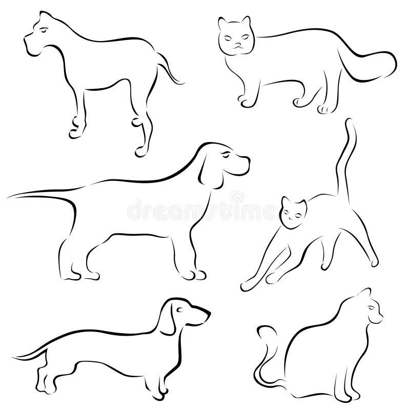 katten planlägger hunden stock illustrationer