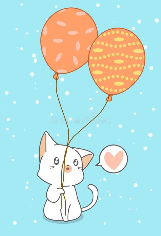 Katten rymmer ballonger vektor illustrationer