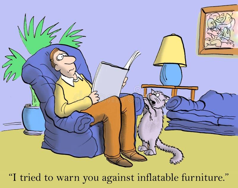 Katten sade att uppblåsbart möblemang var ett fel vektor illustrationer