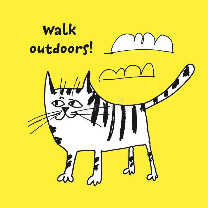 Katten som går det fria, skissar vektorillustrationen royaltyfri illustrationer