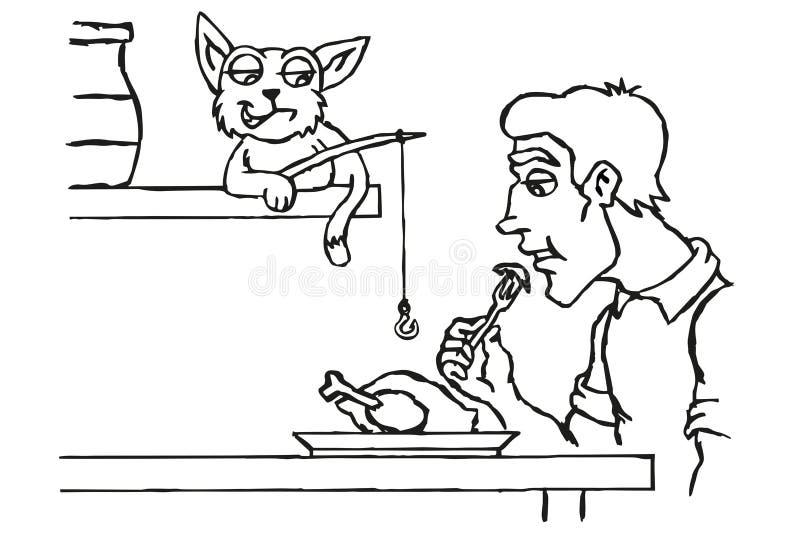 Katten stjäler mat vektor illustrationer