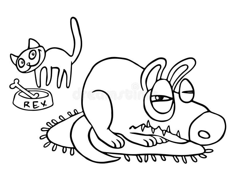 Katten stjäler mat, medan den ilskna hunden sover Isolerad vektorillustration royaltyfri illustrationer