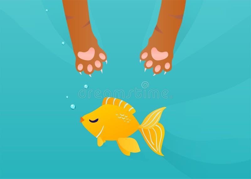 Katten tafsar låset som fiskar den guld- fisken under vattenbakgrund Rolig tecknad filmvektorillustration royaltyfri illustrationer