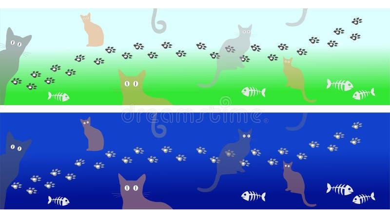 Katten tafsar tryckbanret stock illustrationer