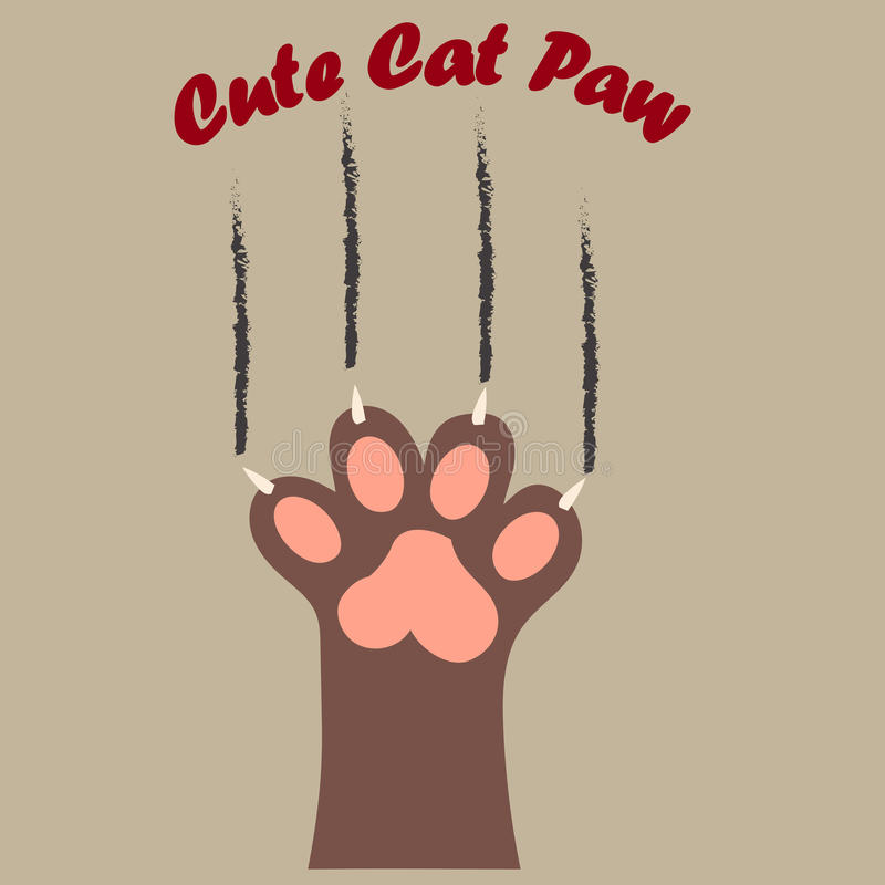 Katten tafsar trycket med jordluckrare stock illustrationer