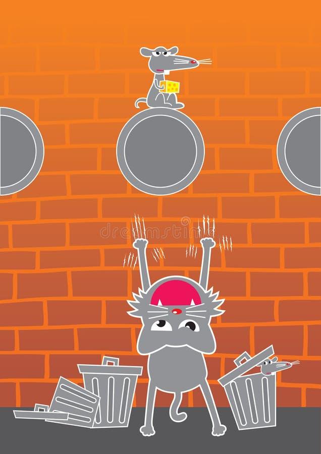 katten tjaller royaltyfri illustrationer