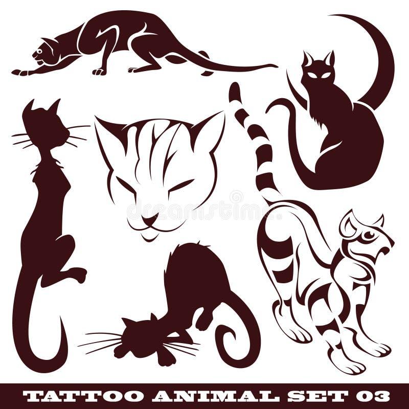 Katten voor tatoegering vector illustratie