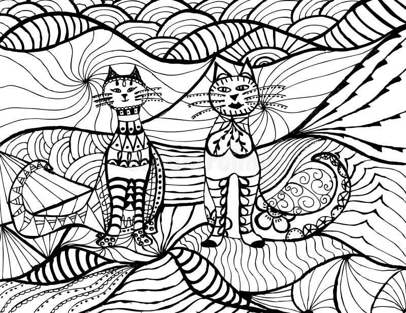 Katten zwarte witte vector Zenart. Hand getrokken vet pluizig dierlijk portret in zentanglestijl voor volwassen kleurende pagina stock illustratie