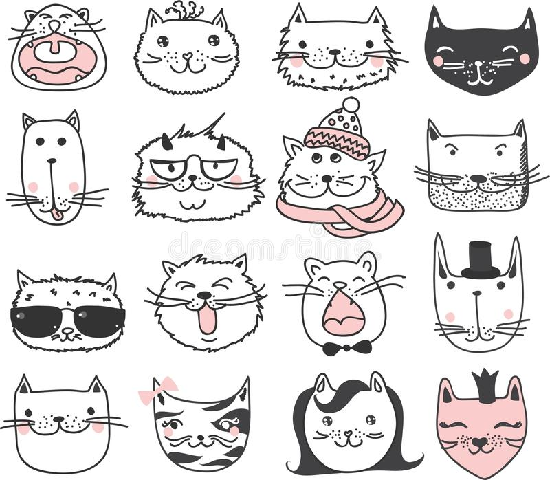 Kattenavatars stock illustratie