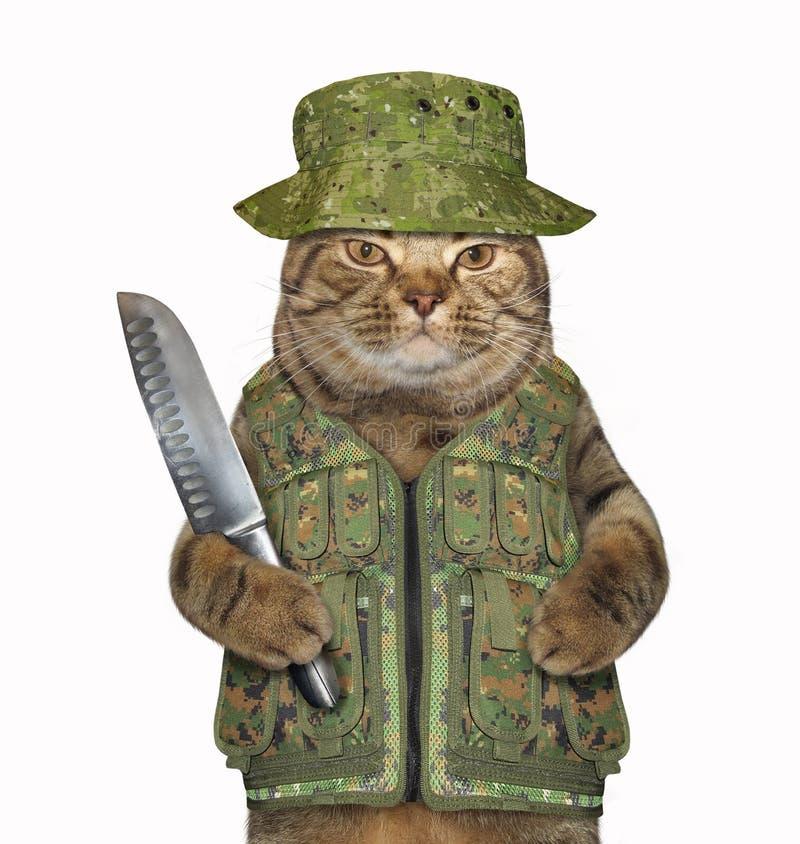 Kattenboswachter met een groot mes royalty-vrije stock afbeeldingen