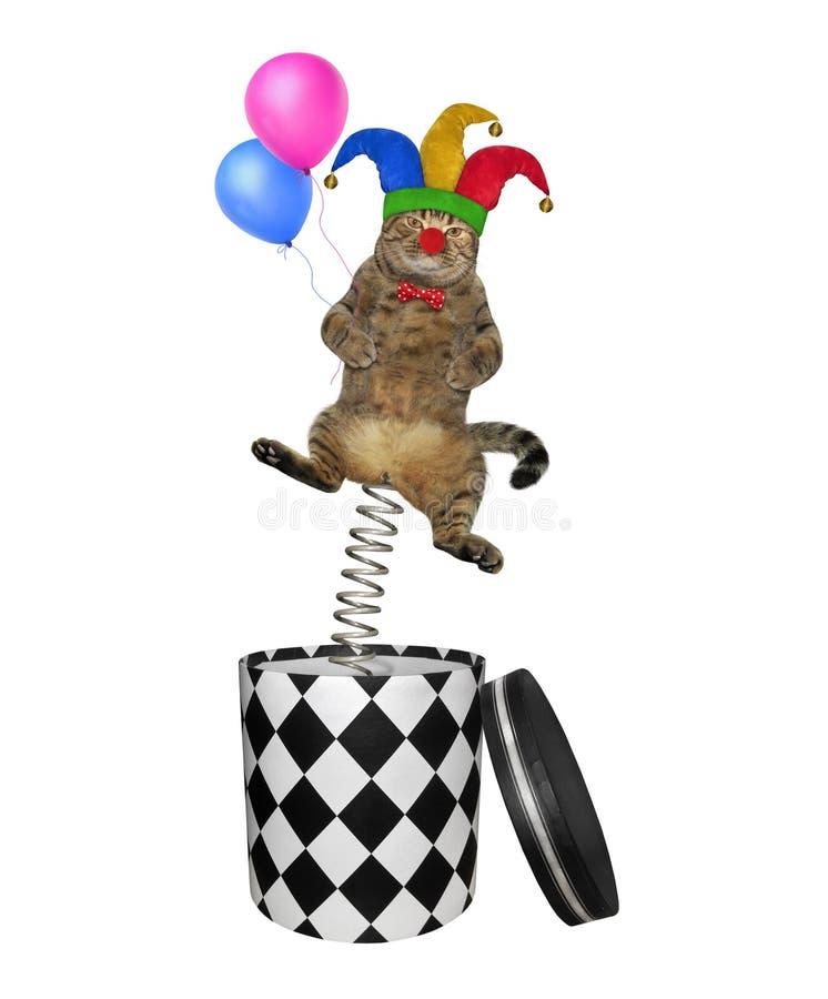 Kattenclown die uit doos 3 springen royalty-vrije stock afbeelding