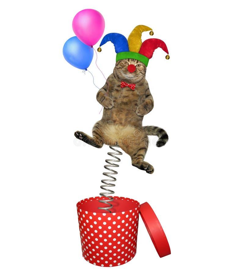 Kattenclown die uit doos 2 springen royalty-vrije stock afbeelding