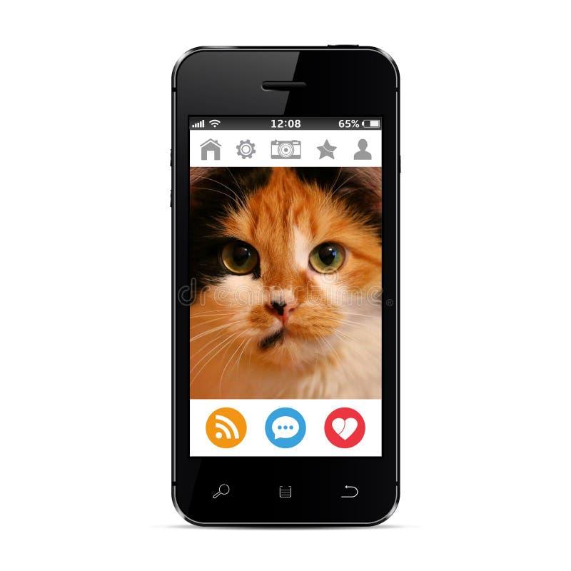 Kattenfoto op het slimme die telefoonscherm in een sociaal netwerk wordt opgemaakt stock afbeeldingen