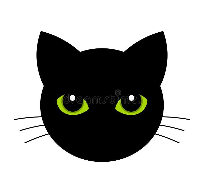 Kattengezicht met groene ogen royalty-vrije illustratie