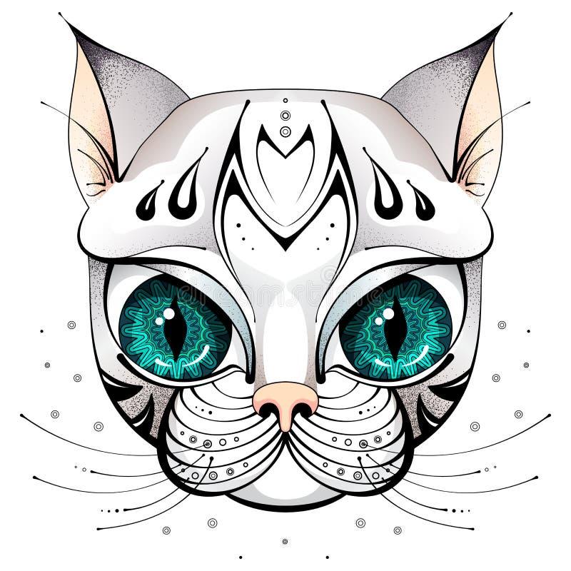 Kattengezicht met grote ogen stock foto