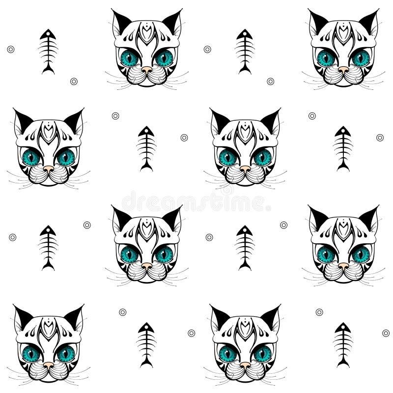 Kattengezicht met skelet van vissenpatroon 01 stock afbeeldingen
