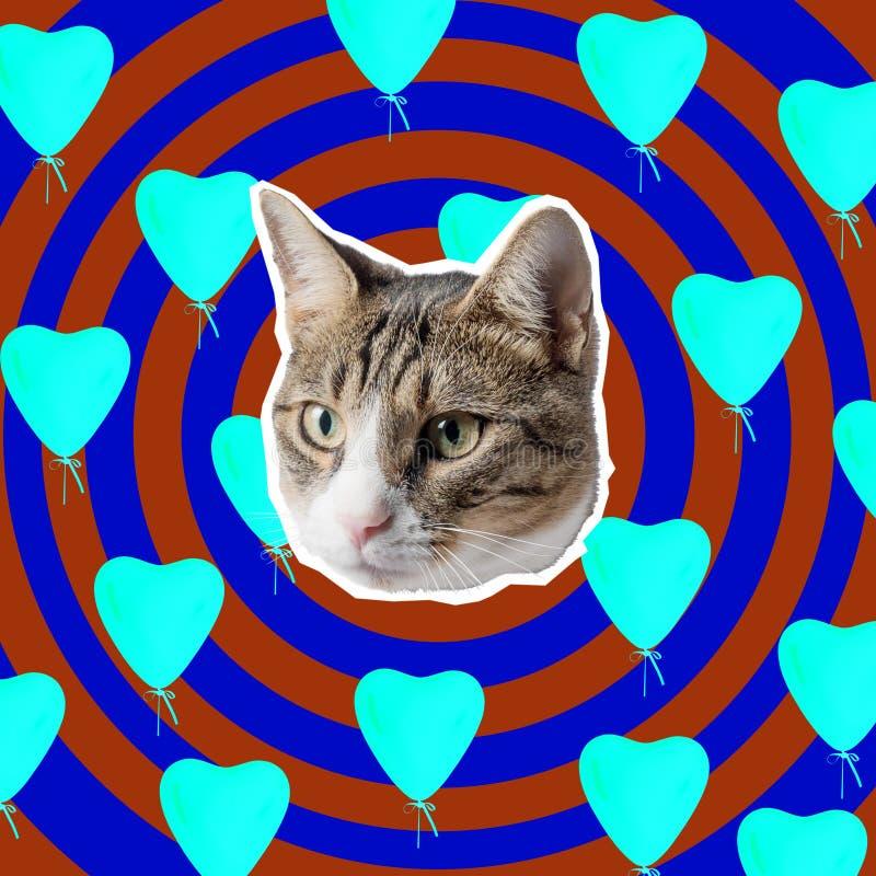Kattenhoofd met heldere hartencollage, pop-artconceptontwerp Minimale liefdeachtergrond stock afbeeldingen