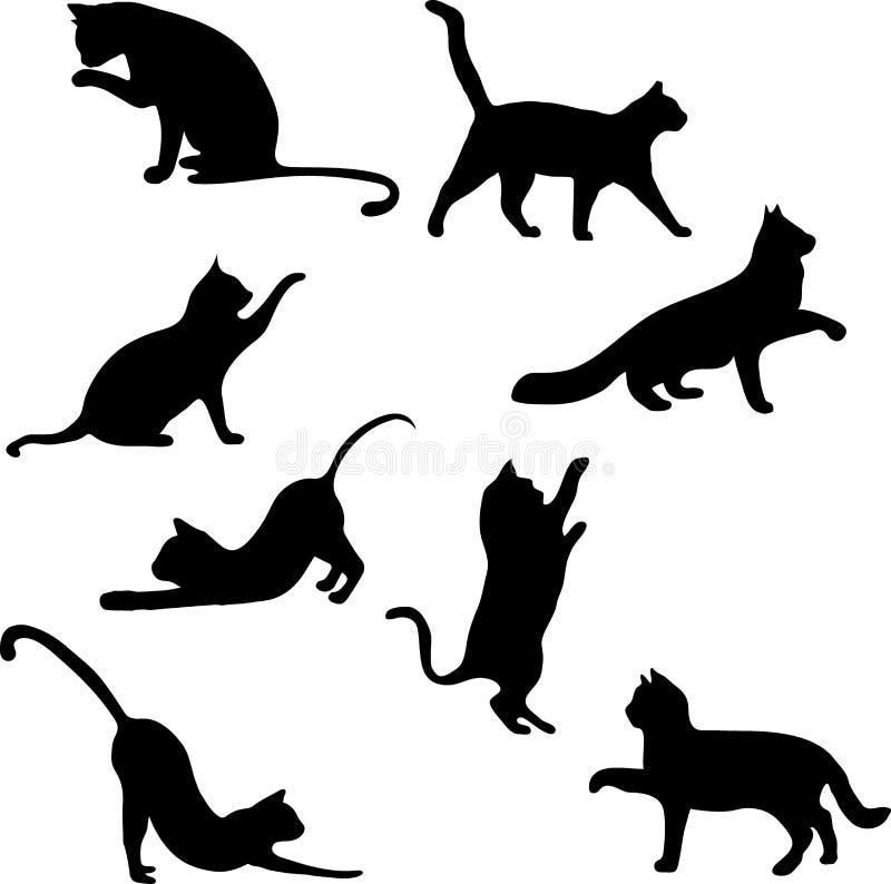 Katteninzameling - vectorsilhouet royalty-vrije stock afbeelding