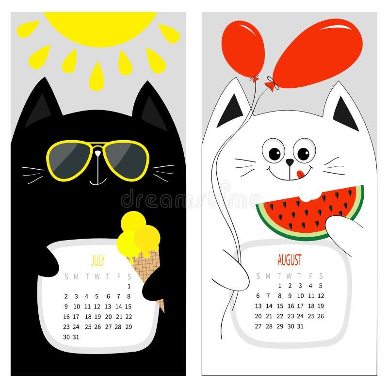 Kattenkalender 2017 Leuk grappig beeldverhaal wit zwart karakter - reeks De zomermaand van juli Augustus hello stock illustratie