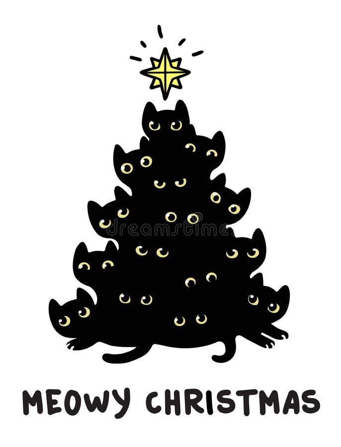 Kattenkerstboom vector illustratie