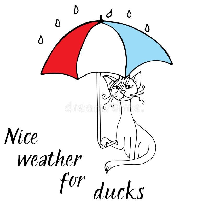 Kattenkrabbel met paraplu schets stock illustratie