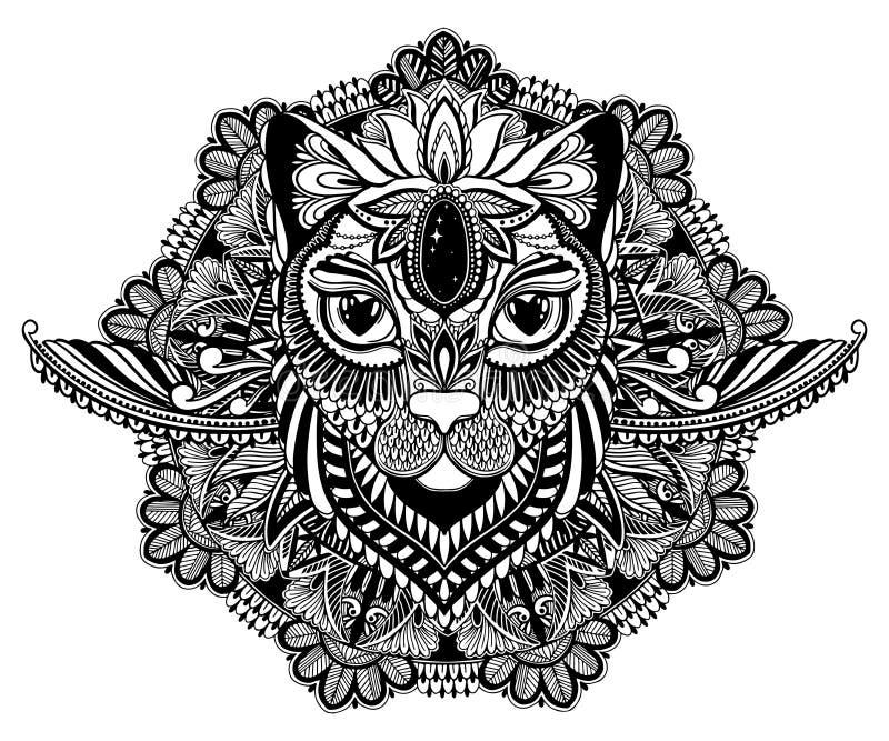 Kattenmysticus en mandalatatoegering Zwarte kleur op witte achtergrond Decoratieve grafische tekening Ge?soleerd ontwerpteken stock illustratie