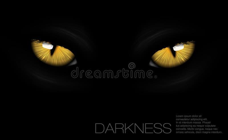 Kattenogen in duisternis vector illustratie