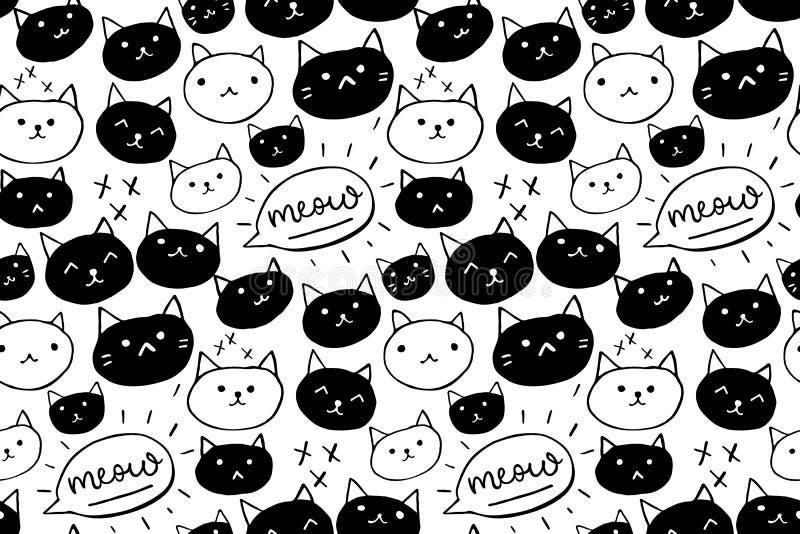 Kattenpatroon Naadloze achtergrond met zwart-witte hand getrokken katten en miauwwoord Leuke huisdierentextuur royalty-vrije illustratie
