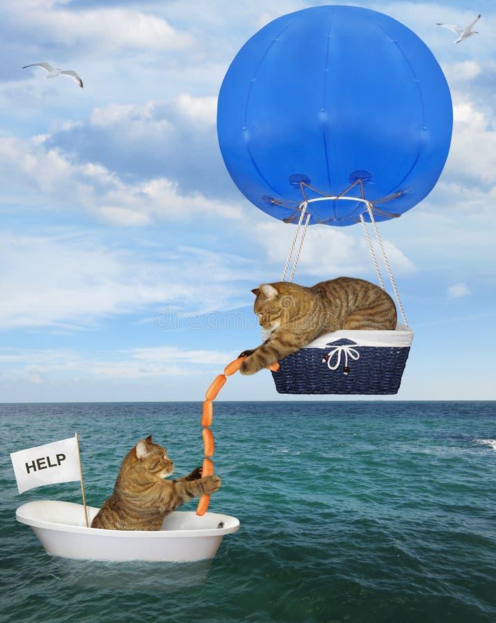 Kattenredder in een blauwe hete luchtballon 2 royalty-vrije stock fotografie
