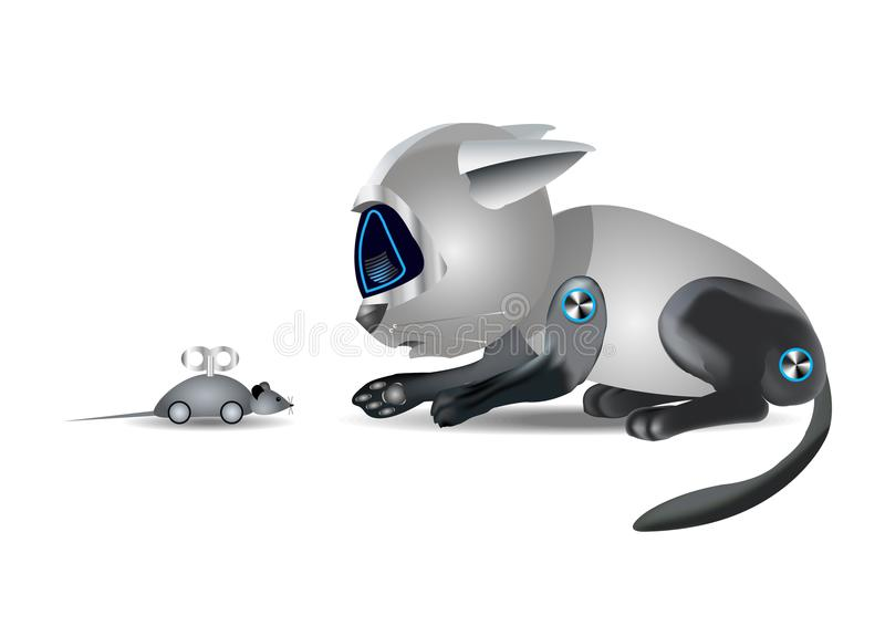 Kattenrobot en muis, grappig stuk speelgoed, op witte achtergrond, illustratie vector illustratie