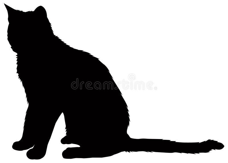 Kattensilhouet - binnenlandse kat, zoogdier royalty-vrije illustratie
