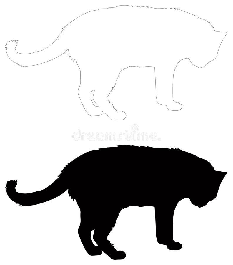 Kattensilhouet - binnenlandse kat, zoogdier stock illustratie