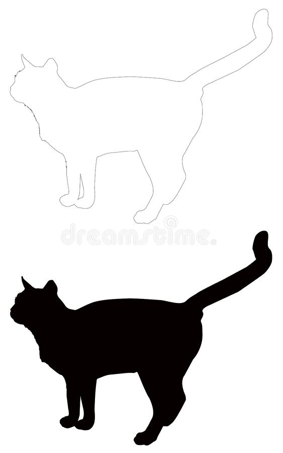 Kattensilhouet - binnenlandse kat, zoogdier vector illustratie