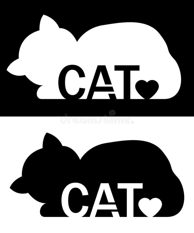 Kattensilhouet met hart Vectorachtergrondillustratie vector illustratie