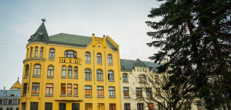 Kattenstandbeeld op het dak Detail van Cat House in het centrum van Riga, Letland stock foto